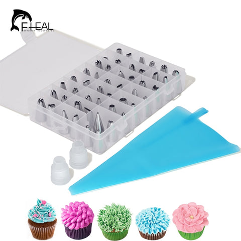 Image of FHEAL 51pcs/set Dessert Decorators Silicone Icing Piping Cream Pastry Bag+48 Stainless Steel Nozzle Set DIY Cake Decorating Tips
