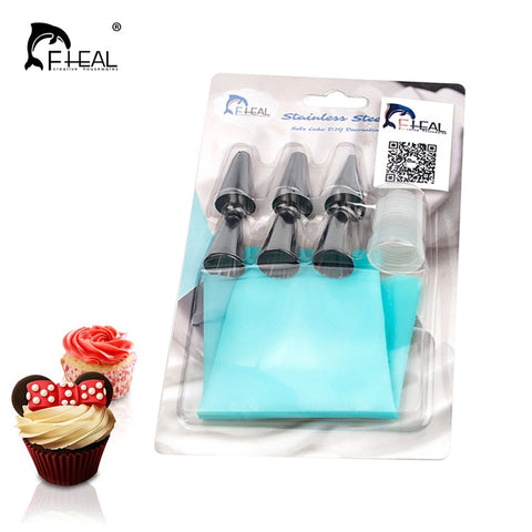 Image of FHEAL   Silicone Icing Piping Cream Pastry Bag with 6pcs Stainless Steel Nozzle Sets Cake DIY Decorating Baking Tool Bakeware