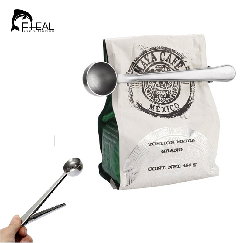 FHEAL Useful Coffee Tea Tool Stainless Steel Cup Ground Coffee Measuring Scoop Spoon with Bag Sealing Clip