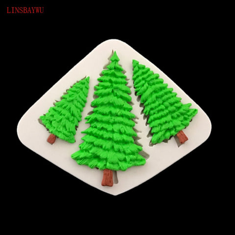Image of Fondant Cake Silicone Mold Christmas Tree Leaf Shape Chocolate Biscuits Mould DIY Kitchen Baking Cake Decoration Tool Soap Mold