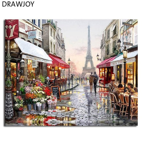 Image of Framed Wall Pictures DIY Oil Painting By Numbers Wall Art Acrylic Oil Canvas Paintings Home Decor For Living Room