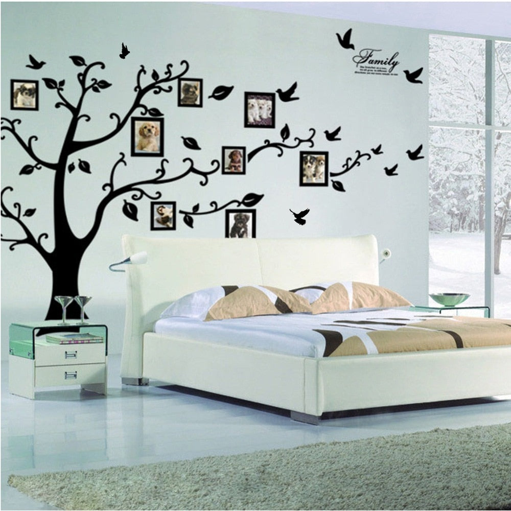 Large 200*250Cm/79*99in Black 3D DIY Photo Tree PVC Wall Decals Adhesive Family Wall Stickers Mural Art Home Decor