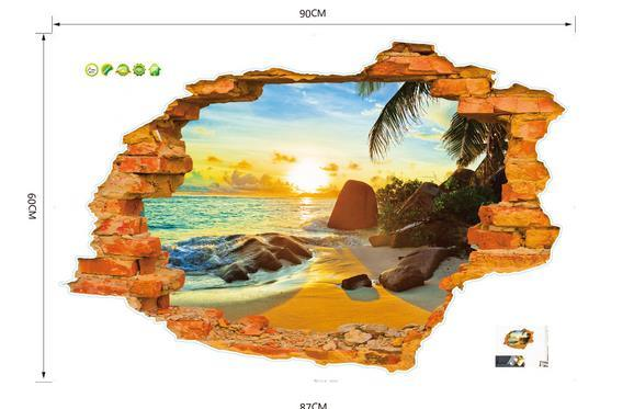 3D Broken Wall Sunset Scenery Seascape Island Coconut Trees Household Adornment Can Remove The Wall Stickers