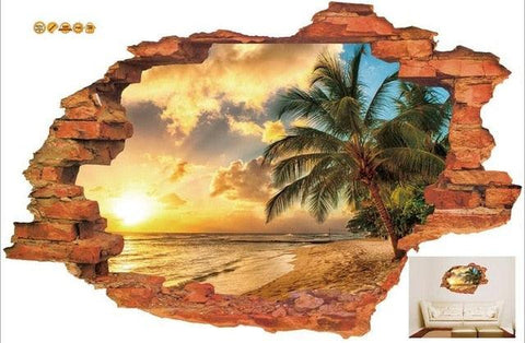 Image of 3D Broken Wall Sunset Scenery Seascape Island Coconut Trees Household Adornment Can Remove The Wall Stickers