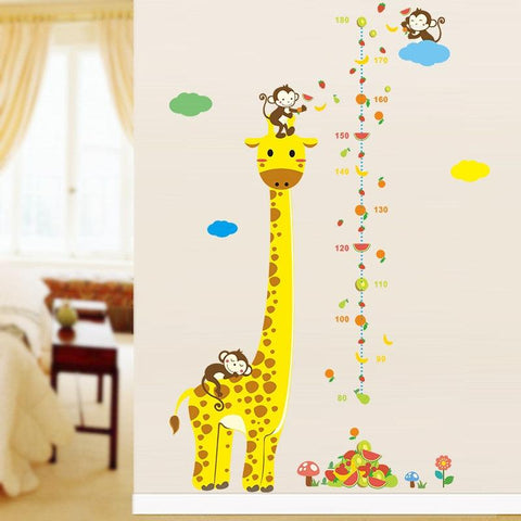 Image of Cartoon Measure Wall Stickers For Kids Rooms Giraffe Monkey Height Chart Ruler  Decals Nursery Home Decor