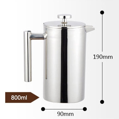 Image of French Press Coffee Maker Best Double Walled Stainless Steel Cafetiere Insulated Coffee Tea Maker Pot Giving One Filter Baskets