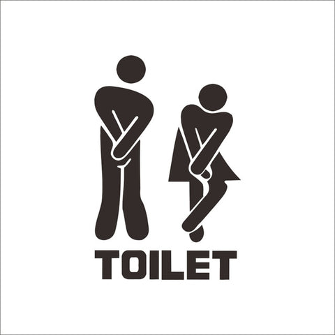 Image of Funny Toilet Entrance Vinyl Sticker Decal For Shop Office Home Cafe Hotel Toilet Bathroom Wall Door Decoration