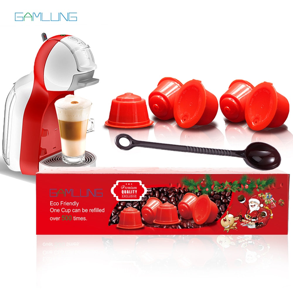 Gamlung 5 Pcs Refillable Dolce Gusto Coffee Capsule Nescafe Dolce Gusto Reusable Capsule With Premium Gift Package