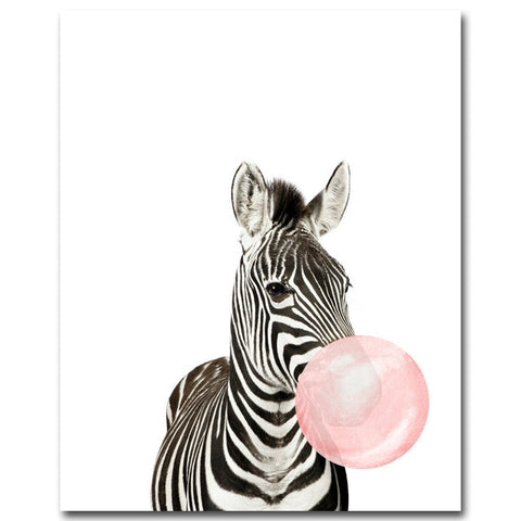 Image of Giraffe Zebra Animal Posters and Prints Canvas Art Painting Wall Art Nursery Decorative Picture Nordic Style Kids Decoration