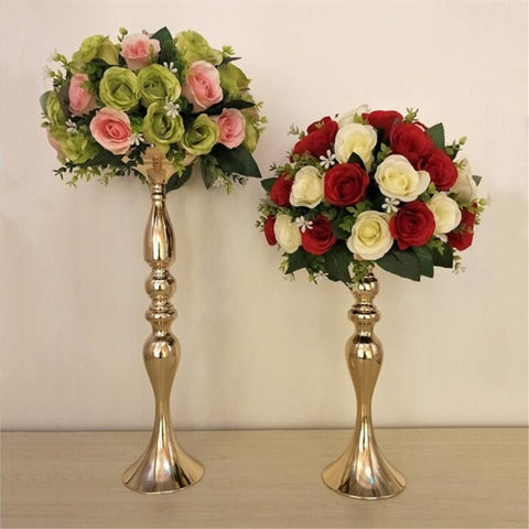 "Gold Candle Holders 50cm/20"" Metal Candlestick Flower Vase  Table Centerpiece Event Flower Rack  Road Lead Wedding Decoration"