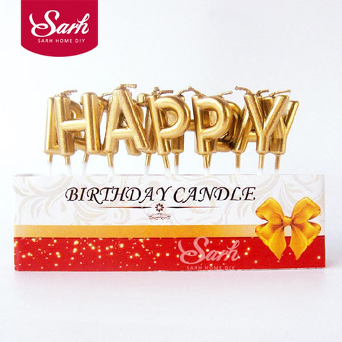 Gold Sliver Happy Birthday Letter Cake Birthday Party Festival Supplies Lovely Birthday Candles for Kitchen Baking Gift PD202