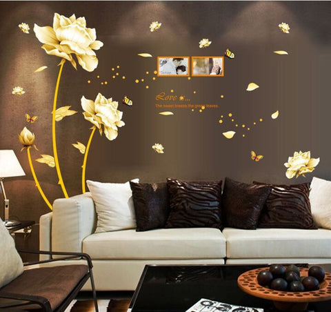 Golden Time Riches and Honour Flowers Chinese Style DIY Wall Stickers Living Room TV/Sofa Background Mural Decal AY9188