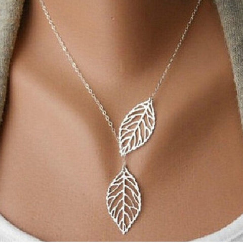 Fashion Heart Leaf Moon Pendant Necklace Crystal Necklace Women Holiday Beach Statement Jewelry