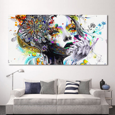 Image of HDARTISAN Modern Canvas Art Girl With FLowers Wall Pictures For Living Room Modular Pictures Home Decor Frameless