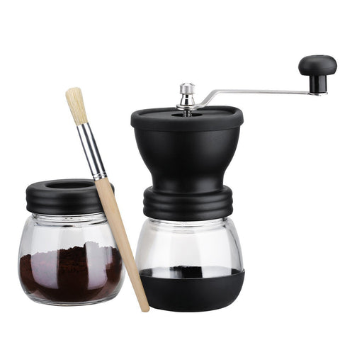 Image of HOT Manual Coffee Grinder with Storage Jar Soft brush  Conical Ceramic Burr Quiet and Portable