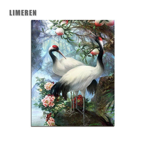 Image of Hand painted Birds Red-crowned Crane Painting By Numbers Paint Kits Oil Painting Number Canvas Pictures Living Room Office Decor
