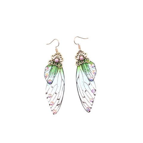 Handmade Fairy Simulation Wing Earrings Insect Butterfly Wing Drop Earrings Foil Rhinestone Earrings Romantic Bridal Jewelry