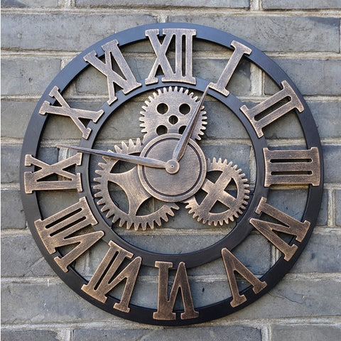 Image of Handmade Oversized 3D retro rustic decorative luxury art big gear wooden vintage large wall clock on the wall for gift 20 inches