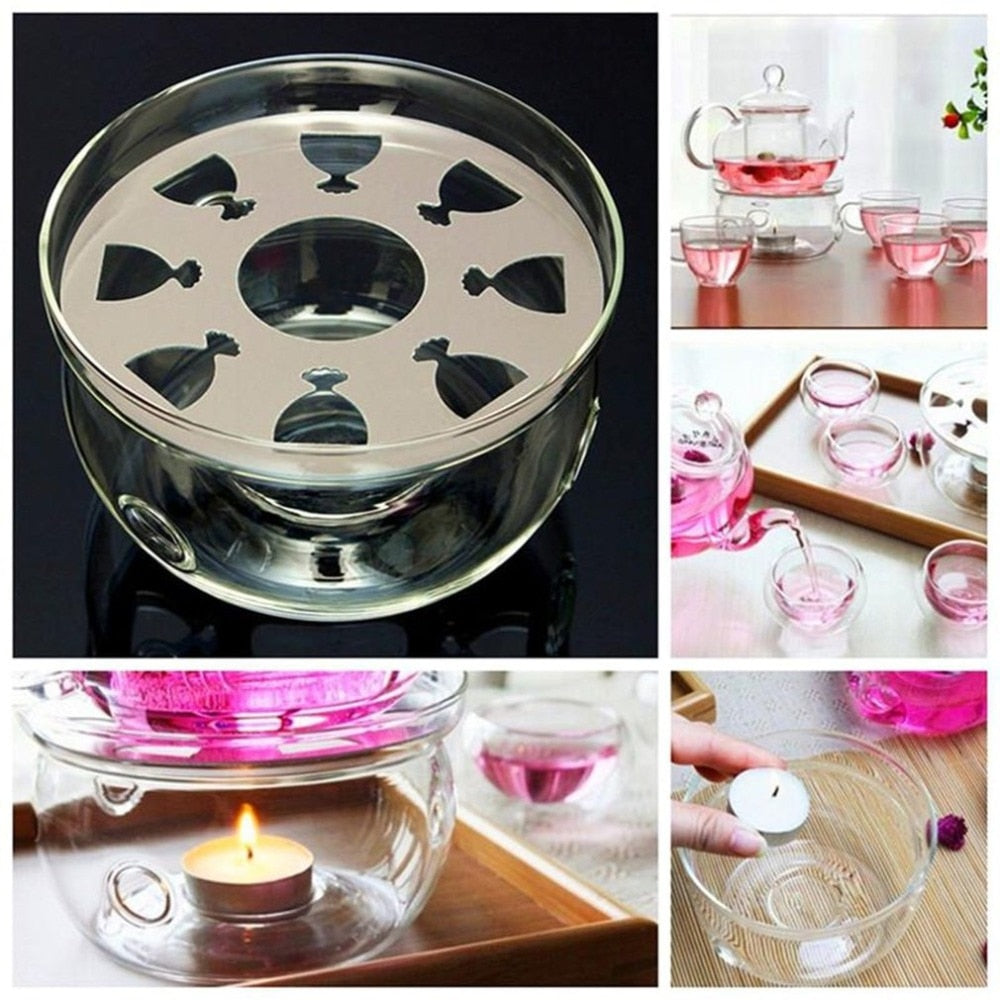 Heat-Resisting Teapot Warmer Base Clear Borosilicate Glass Round Insulation Tealight Portable Teapot Holder Tea Accessories