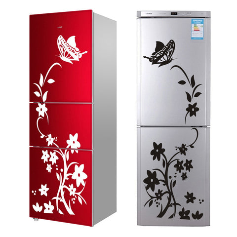 Image of High Quality Creative Refrigerator Black Sticker Butterfly Pattern Wall Stickers Home Decoration Kitchen Wall Art Mural