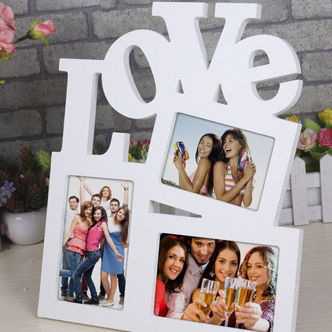 Image of Hollow Love Design Wooden Photo Frame Picture Frame Art Home Decor