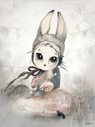 Image of Home Decor Nordic Canvas Painting Wall Art Rabbit Girl Animal Abstract Watercolor Print Kid Bedroom Living Room Poster Picture