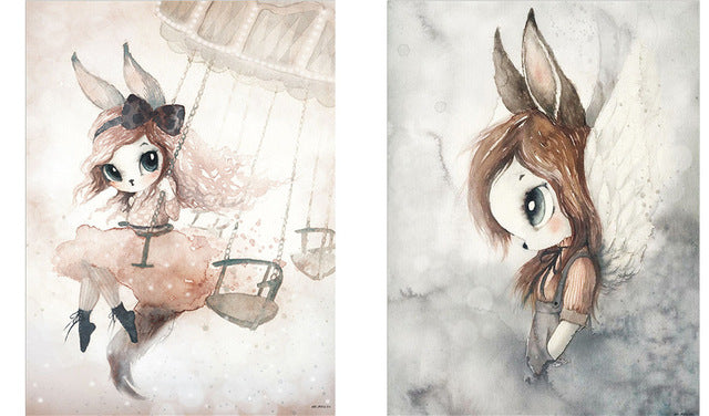 Home Decor Nordic Canvas Painting Wall Art Rabbit Girl Animal Abstract Watercolor Print Kid Bedroom Living Room Poster Picture