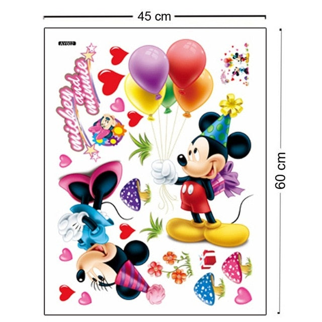 Mickey Mouse  Minnie mouse wall sticker children room nursery decoration diy adhesive mural removable vinyl wallpaper