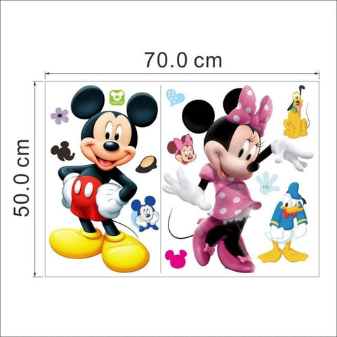Image of Mickey Mouse  Minnie mouse wall sticker children room nursery decoration diy adhesive mural removable vinyl wallpaper