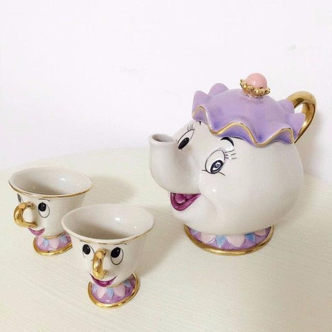 Cartoon Beauty And The Beast Teapot Mug Mrs Potts Chip Tea Pot Cup 2PCS One Set Lovely Gift