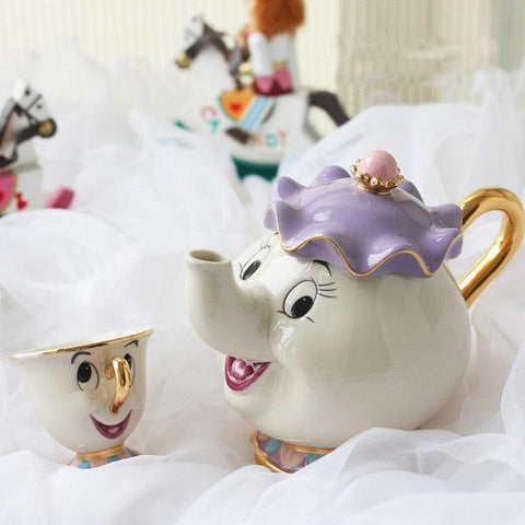 Image of Cartoon Beauty And The Beast Teapot Mug Mrs Potts Chip Tea Pot Cup 2PCS One Set Lovely Gift