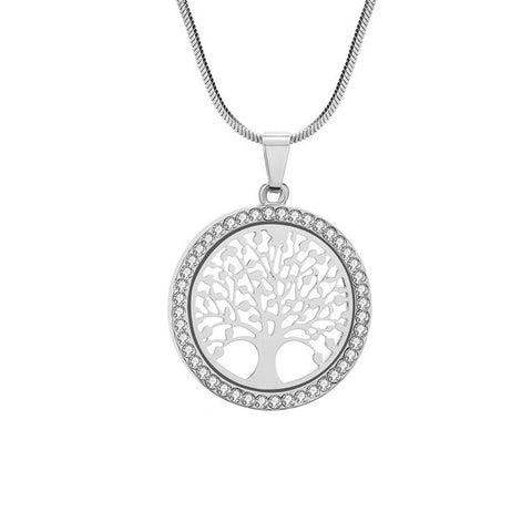 Image of Tree of Life Crystal Round Small Pendant Necklace Gold Silver Colors Bijoux Collier Elegant Women Jewelry Gift