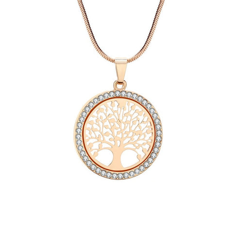 Tree of Life Crystal Round Small Pendant Necklace Gold Silver Colors Bijoux Collier Elegant Women Jewelry Gift