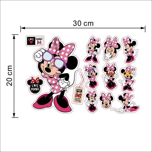 Mickey Mouse Minnie Mouse Bathroom Decoration Cartoon Cute glass Wall Stickers for Kids Rooms Home Decor