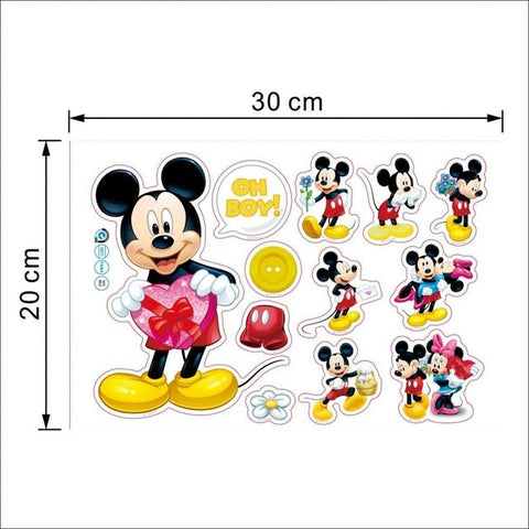 Image of Mickey Mouse Minnie Mouse Bathroom Decoration Cartoon Cute glass Wall Stickers for Kids Rooms Home Decor