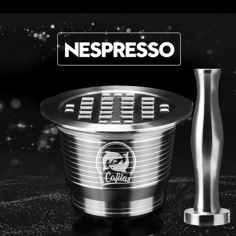 Image of ICafilas Stainless Metal Reusable Nespresso Capsule with Press Coffee Grinds Stainless Tamper Espresso Coffee Maker Basket