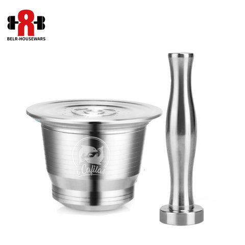 Image of ICafilas Stainless Steel Nespresso Reusable Capsule with Press coffee Stainless Tamper Refillable Inoxidable Coffee Pod Filters