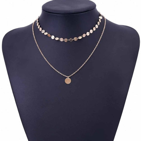IPARAM 2018 New Fashion Gold Coin Layered Necklace Set For Women Charm Choker Necklace