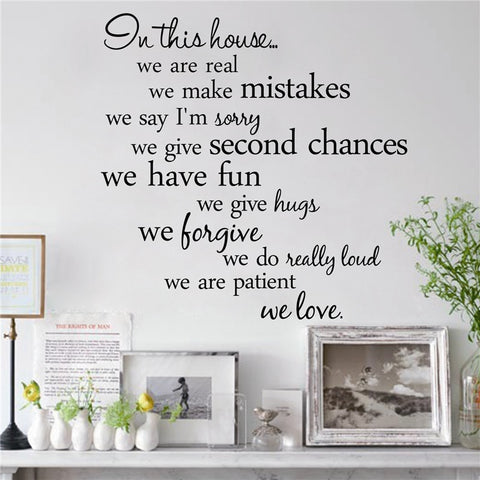 Image of In this house we are real Home Decal Family Vinyl Wall Sticker Quotes Lettering Words Living Room Backdrop Decorative Decor