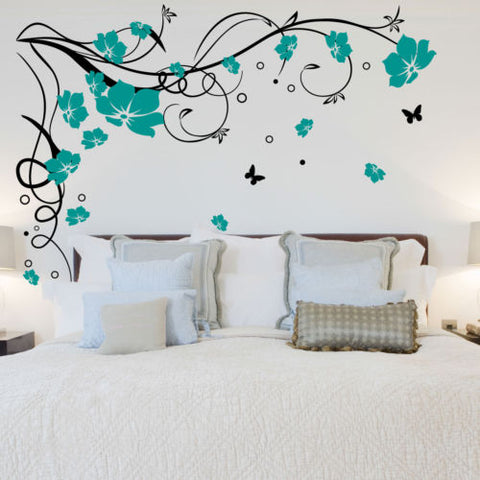Image of J3 Large Butterfly Vine Flower Vinyl Removable Wall Stickers Tree Wall Art Decals Mural for Living room Bedroom Home Decor