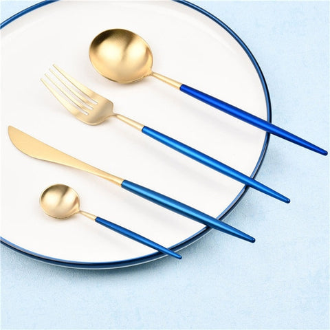 JANKNG 18/10 European Black Stainless Steel Dinnerware Set Luxury Matte Fork Knife Cutlery Set Dinner Silverware Tableware for 1