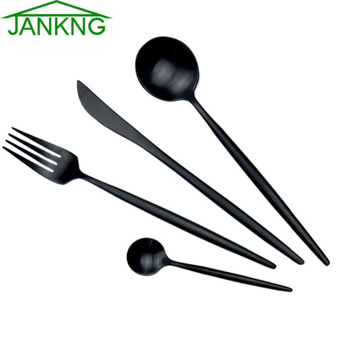 Image of JANKNG 18/10 European Black Stainless Steel Dinnerware Set Luxury Matte Fork Knife Cutlery Set Dinner Silverware Tableware for 1