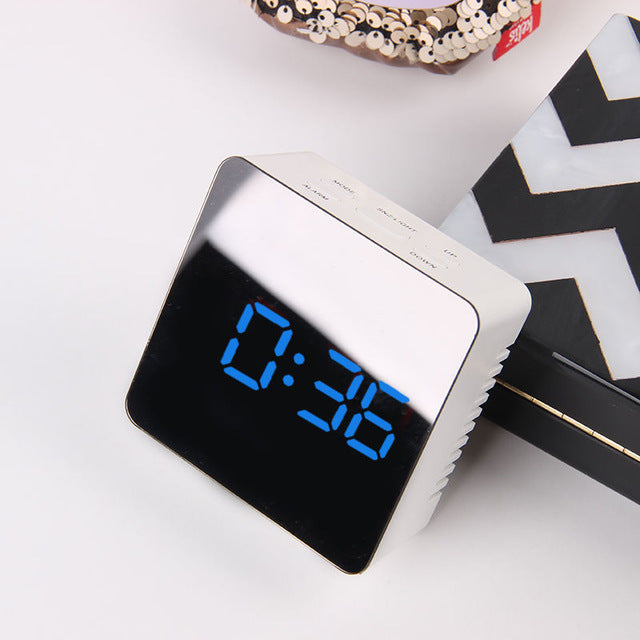 JULY'S SONG Digital Alarm Clock Mirror Digital Clock LED Snooze Night Lights Temperature Table Clocks USB Despertador Home Decor