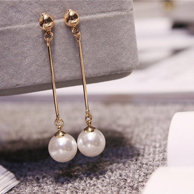 Korean Star The Same Paragraph Fashion Imitation Pearl Tassel Jewelry Earrings Female Long Section  Vintage