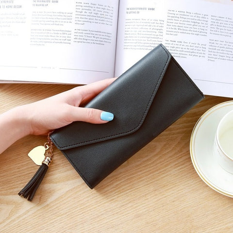 Image of Long Wallet Women Purses Tassel Fashion Coin Purse Card Holder Wallets Female High Quality Clutch Money Bag PU Leather Wallet