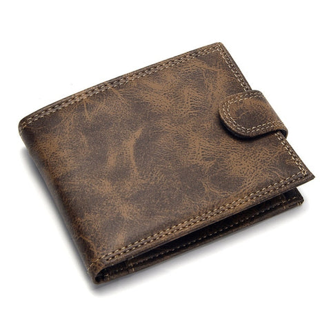 Image of Luxury Designer Mens Wallet Leather Bifold Short Wallets Men Hasp Vintage Male Purse Coin Pouch Multi-functional Cards Wallet