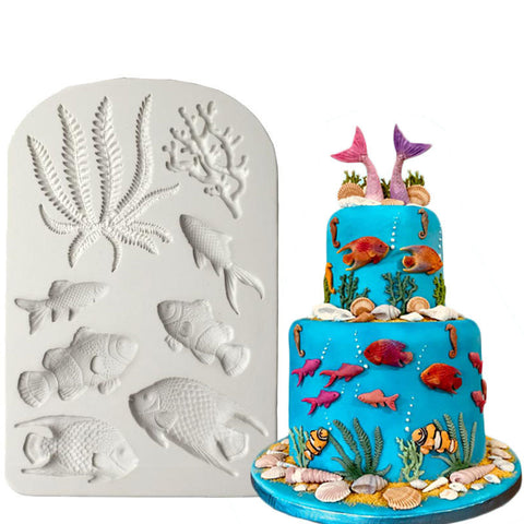 Image of Luyou 1pcs Fish Seaweed Silicone Mold DIY Cake Border Fondant Cake Decorating Tools Sea Coral  Cupcake Chocolate Moulds  FM1588
