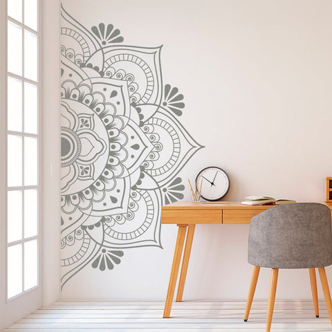 Mandala in Half Wall Sticker Decor for Home Removable Vinyl Sticker for Meditation Yoga Wall Art Living Room Bedroom Mural