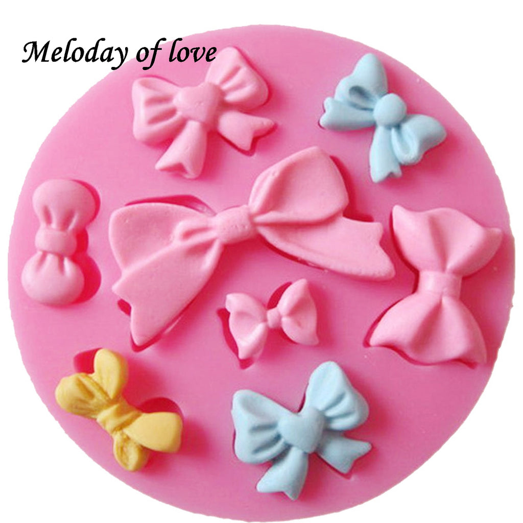 Many Mini bow chocolate wedding cake decorating tools DIY baking fondant silicone mold High quality T0218