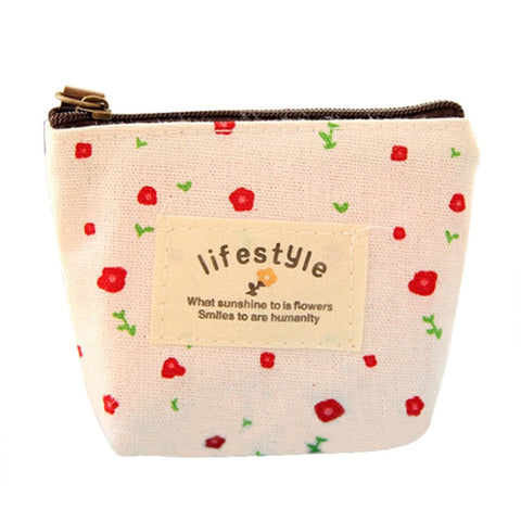 Image of Mini Floral Canvas Coin Cases Keys Bags Card Change Purse Zip Wallets